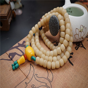 白玉菩提项链缠珠