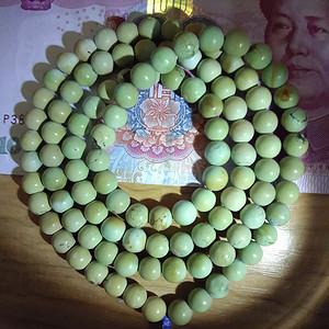 【联盟】原矿三无高瓷高蓝绿松石108颗佛珠珠串 市场价10000+
