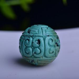 【联盟】原矿三无十堰绿松石,极品高瓷高蓝松石回纹珠