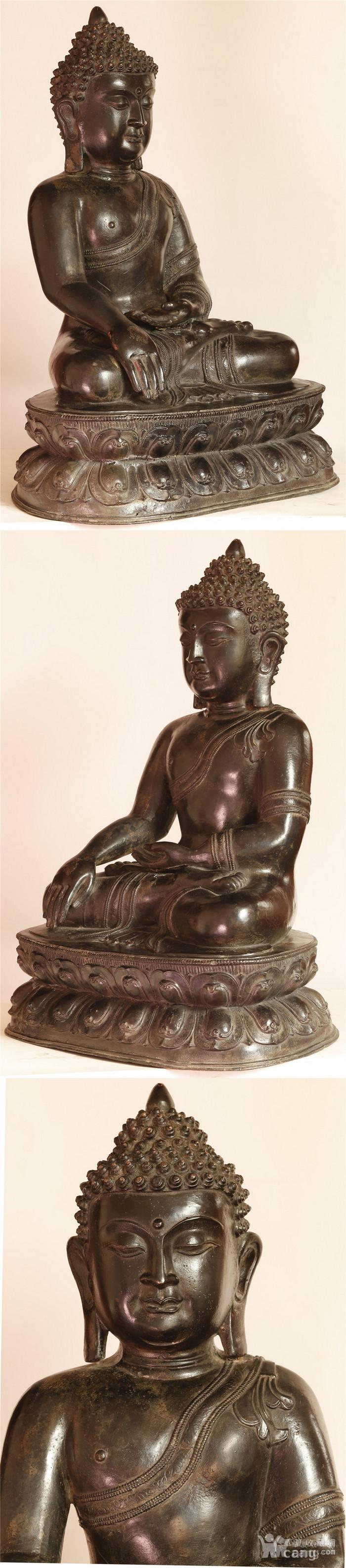 重33斤高47厘米  清中期释迦摩尼铜佛像图3