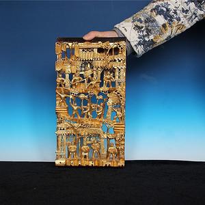 【收藏级精品】 文革时期潮州金漆木雕板