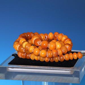 【收藏级】42.42g鸡油黄老蜜蜡算盘珠手工项链