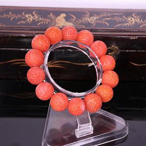 【精品】88.35克保山南红17mm大圆雕刻珠手串