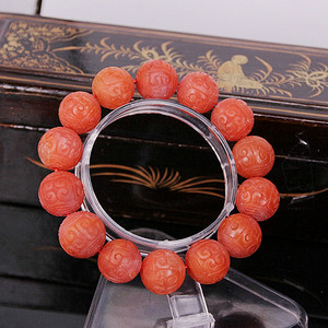 【精品】71.89克保山南红16mm大圆雕刻珠手串