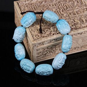 【收藏级精品】67.84g苏工雕十八罗汉高瓷原矿松石手串