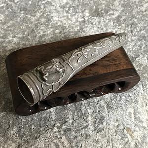 【精品】清代老银雕花浮雕护指
