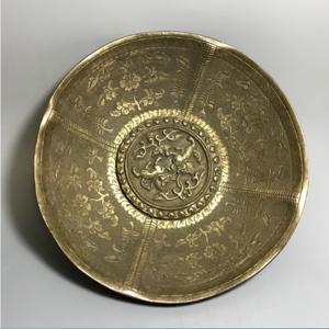 【欧洲回流】精工铜质錾刻花口盘