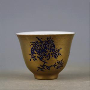 清乾隆年蓝釉绘折枝花果纹本金底釉杯子包老全品相!