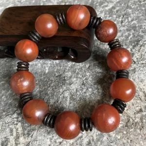 【精品收藏级古珠】清代老南红玛瑙圆珠手串一条