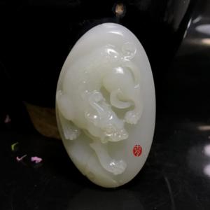【精品收藏级】苏工大师雕刻和田白玉貔貅挂件