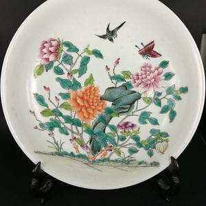 民国粉彩花鸟纹盘