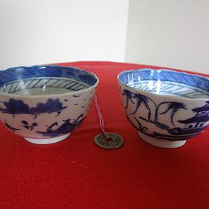 【钻石】【326-208】光绪山水楼阁纹青花花杯沿茶杯一对