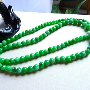 老坑翡翠A货水润满绿项链