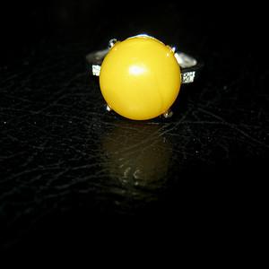 纯银镶嵌原矿蜜蜡戒指 (10号)