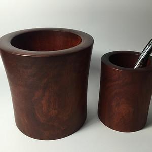 【联盟】精品非洲紫檀笔筒2件套