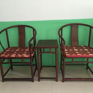 【联盟】精品非洲紫檀圈椅3件套