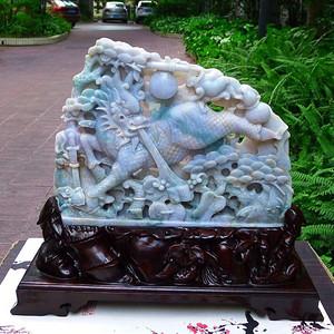 缅甸A货翡翠老坑水润紫气东来精雕招财大麒麟摆件