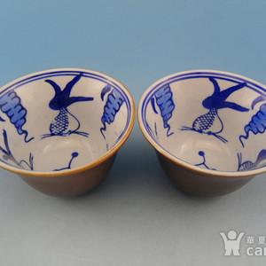【联盟】民国鱼藻纹紫金釉铃铛杯一对