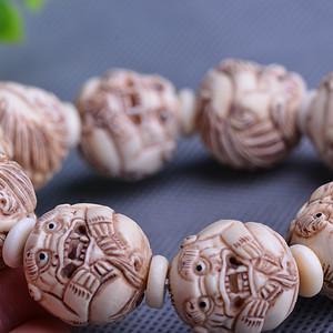 【联盟】极品收藏 精工猛犸象牙貔貅珠串 市场价五位数