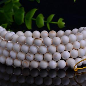 【联盟】极品瓷白料远古猛犸牙化石108颗佛珠