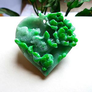 天然A货翡翠老坑水润满绿鸳鸯戏水