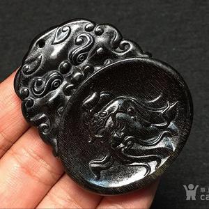 【联盟】珍贵 满黑 兽头关公牌 挂件 工艺十分精湛