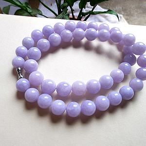天然A货翡翠老坑水润紫罗兰项链