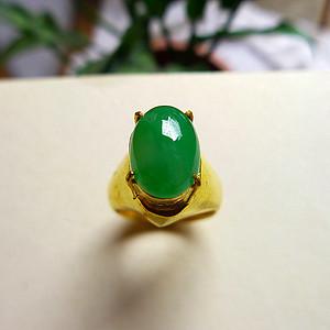天然A货翡翠满绿平安戒指