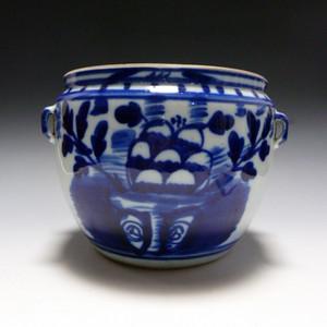 清 青花花卉粥罐