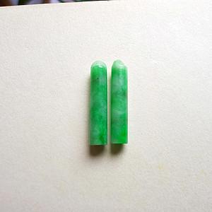 天然A货翡翠满绿平安柱一对