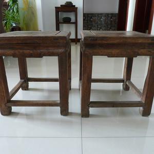 清 原装榉木禅凳一对