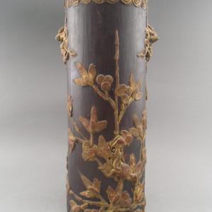76.清代~浮雕花卉狮子帽筒