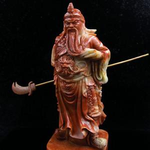 -推荐-漂亮寿山芙蓉冻石--关公武财神大摆件 重1.96公斤