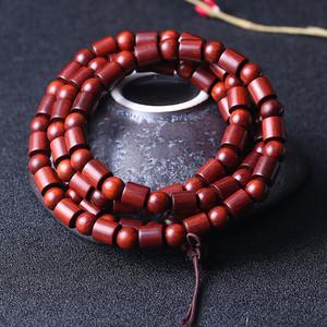 纯天然印度小叶紫檀佛珠手串 玻璃底 鸡血红