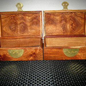花梨木文房盒子一对