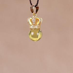 天然波罗的海金珀吊坠 925银镀金镶嵌