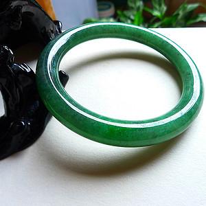 天然A货翡翠老坑水润满绿圆条手镯