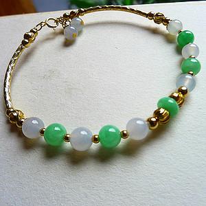 A货翡翠14K圆珠手链