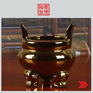 景德镇文革老厂瓷/包老/精品收藏/雕塑瓷厂镀金香炉