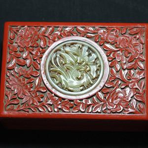 【大藏家】镶玉老剔红盒