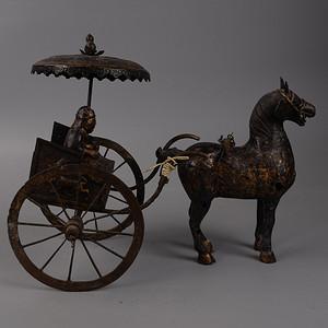 欧洲回流铜鎏金人物马车