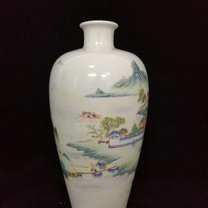 民国新粉彩山水人物梅瓶