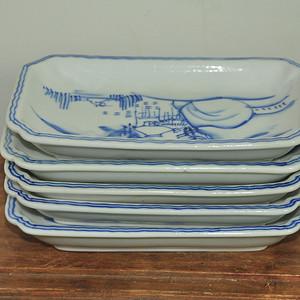 日本青花瓷碟一套(5个)