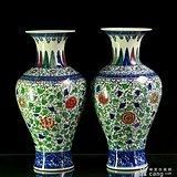 (议价)清雍正 官窑 斗彩 缠枝花卉纹 花瓶一对