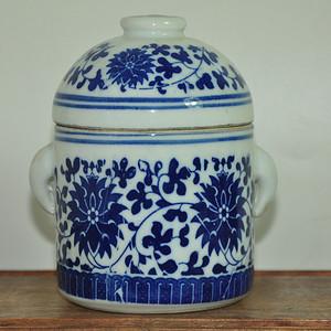 青花双盖瓷罐