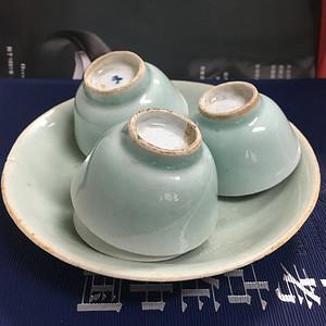 【联盟】清中豆青茶盘+杯一套