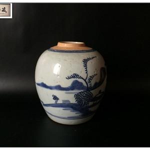 【素雅青花】清早期  青花人物山水纹文房小罐