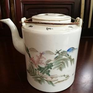 (联盟)清代浅绛彩山水风景茶壶
