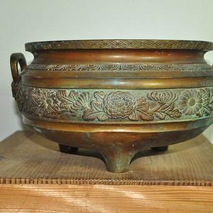 日本手工攒刻铜香炉