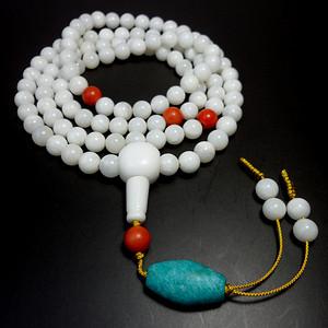 精品玉化白砗磲108佛珠!天然珍贵红珊瑚、天河石配饰!
